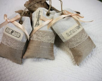Lavender Sachets - Set of 3 -Gift Tag Style-  White Linen and Rose Gold Silk -  Wedding Favours