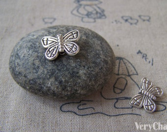 30 pcs Antique Silver Butterfly Beads 11x15mm A5329