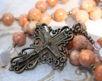 Catholic Rosary Beads In Orange Jasper & Pearls With Antique Replica Bronze Findings