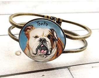 English bulldog Jewelry - English bulldog Art - English Bulldog Gifts - Pet Memorial Bracelet - Dog Bracelet - Pet Loss Gifts - For Jen