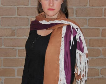 Re Make Popular Demand Silk Cashmere  cloak/shawl twin colour with suede tassels