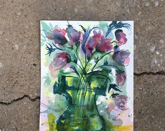 Abstract purple and green florals, original watercolor painting by Lara Mitchell