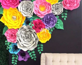 17 pc Paper Flower Set, backdrop, nursery, home decor, beauty, Customize your colors!