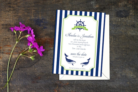 Nautical Stripes and Whales Save the Date Cards or Postcard, Nautical Engagement Announcements, Save the Date, Invitation to Save the Date