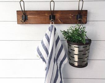 Rustic Coat Rack | Farmhouse Coat Rack | Kitchen Towel Rack | Rustic Decor | Foyer Coat Rack | Small Coat Rack |