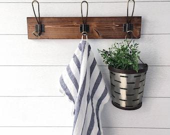 Rustic Coat Rack | Farmhouse Coat Rack | Kitchen Towel Rack | Rustic Decor  | Foyer