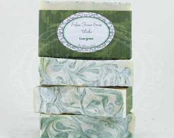 Evergreen Soap - Made Fir Needle Essential Oil - Cold Process - Christmas Pine Forest