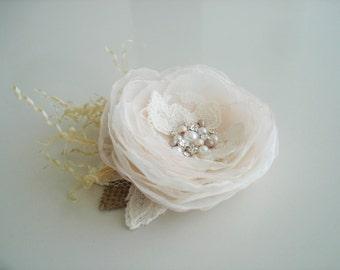 Ivory Blush Flower Bridal Hair Clip, Rustic  Blush Wedding Hair Accessory, Crystal Pearl Flower Hair Clip, Bridal Head Piece,  Hairpiece