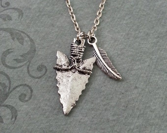 Arrowhead Necklace, Feather Necklace, Hunting Jewelry, Arrowhead Pendant, Native American Jewelry, Bohemian Necklace, Bohemian Jewelry