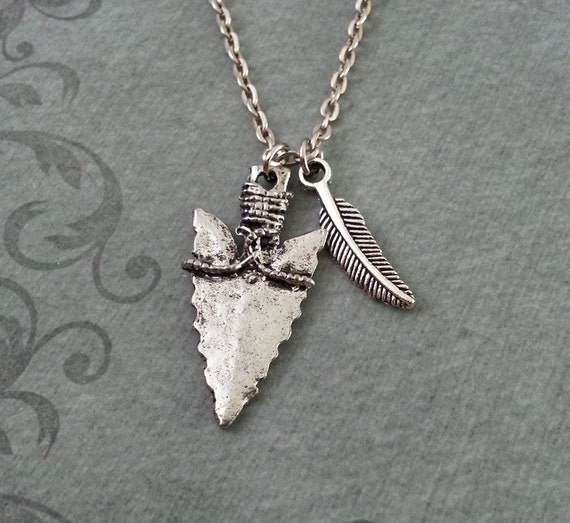 Arrowhead necklace feather necklace hunting jewelry aloadofball Gallery