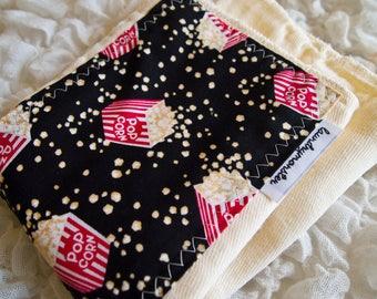 baby burp cloth - Ivory movie popcorn hand dyed baby burp cloth