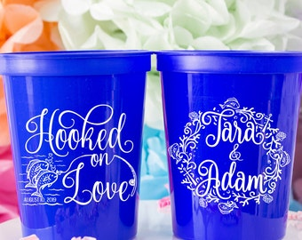 Fishing Wedding Favors for Guests, Fishing Theme, Fisherman Wedding, Hooked on Love, Personalized Cups, Custom Plastic Cups, Stadium Cups
