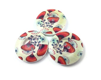 1.5 inch buttons - Poppy flowers wooden sewing buttons - set of 3