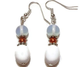 Opal earrings sky blue, white, oranges and caps: metal silver way, unnoticeable at will