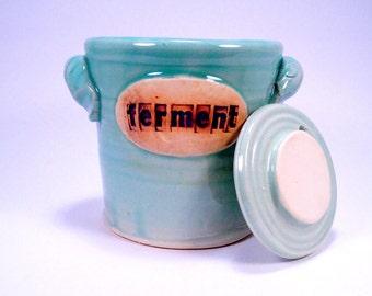 fermentation & pickling crock . ceramic pottery jar  for sauerkraut or kimchi in emerald blue