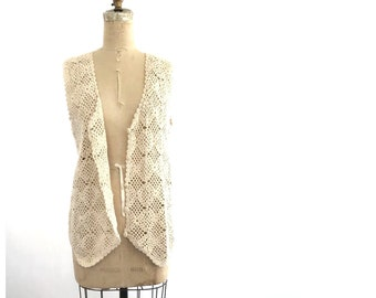 crocheted vest | long vintage vest | festival top