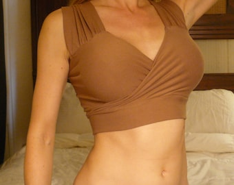 Custom Organic Cotton Bra - Brown