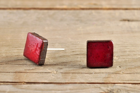 MINI glossy red square stoneware stud earrings