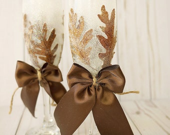 Fall Wedding Champagne Flutes Wedding Flutes Fall Wedding Toasting Flutes
