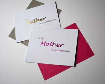 To My Mom, To My Dad, On my Wedding Day Cards, Parents of the Bride or Groom Cards, Gold Foil Cards