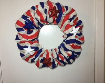 Burlap wreath- red, white, and blue