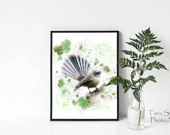 Fantail Watercolour Print 11 x 14