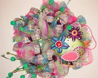 Whimsical, spring wreath