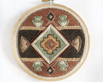 Pattern 2 In Dark Pink, Southwest Motif, Hand-Stitched Embroidery Hoop