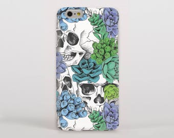 Skulls and Succulent Plant Hipster Phone Case/Cover for iPhone Case/Cover (iPhone 8 Case/Cover) Samsung Phone Case/Cover - FREE UK Delivery