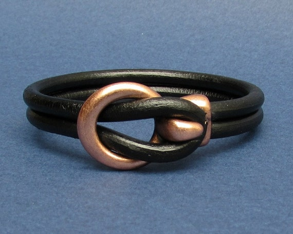 Mens Leather Bracelet Copper Leather Men Bracelet Cuff  Brown Black Antique Silver Plated Customized On Your Wrist