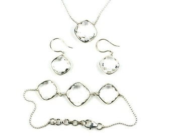 Beautiful Jewelry Set, Natural Crystal Quartz, Earrings, Necklace, Bracelet, Complete Set, Antique Design Handmade