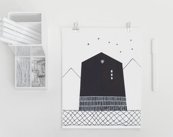 House Illustration Print, House #11 Black and White Contemporary Art Print of Original House Sketch with Big Dipper from House Series