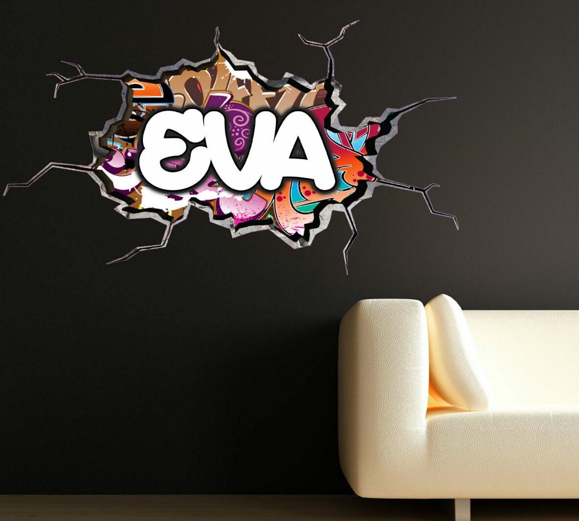 Personnalis Graffiti Pr Nom Sticker Fissur Mur 3d Vinyle Mur