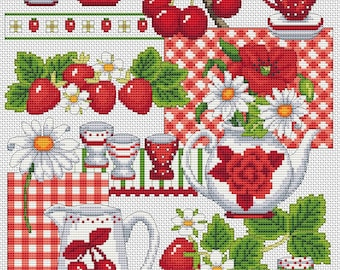 strawberries, cherries and porcelain cross stitch chart
