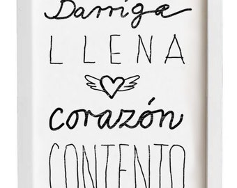 "Spanish Saying 11""x15"" Kitchen Art typography - Barriga llena corazón contento - archival fine art giclée print"