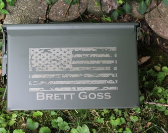 Gift for men, Personalized ammo can, American Flag Ammo box