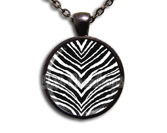Zebra Animal Print - Round Glass Dome Pendant or with Necklace by IMCreations -  PT109