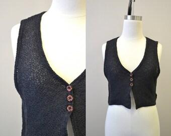 1980s Black Cropped Cotton Knit Vest