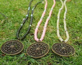 Earth Tone Medallion Necklace