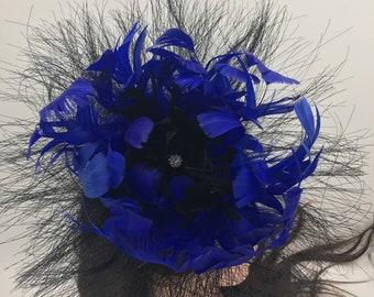 Royal Blue Feather Flower