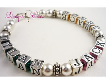 Mothers Bracelet- custom crystal and .925 bali silver - custom create your own personalization/ names for children or grandchild