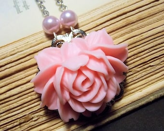 Pink and Silver Victorian Rose Statement Necklace