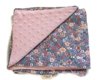 Floral cover Liberty - soft plaid cotton and pink minky baby blanket