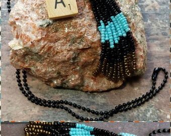 Hand Made, Beaded (Seed Beads) Unique, Multi-Colored Long Tassel Necklace. Four Varieties Available! FREE SHIPPING