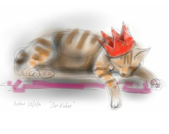 Cat greetings card, party cat, sleeping ginger cat with hangover - 'Der Kater' / 'The Morning After' - art card, drawing, funny, birthday.