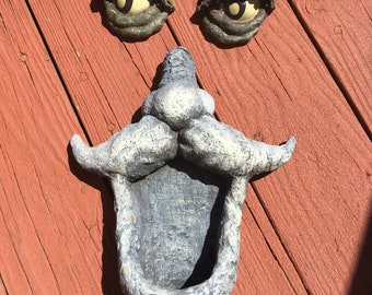 Vintage tree face - eyes and nose/mustache/open mouth - garden whimsical decor.