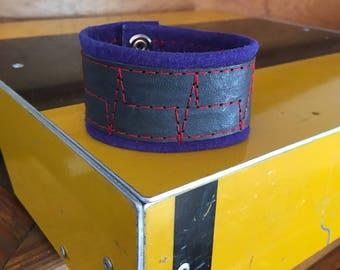 Leather Cuff Bracelet heartbeat Blue Medium