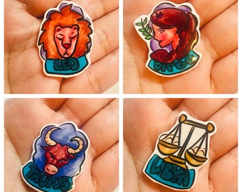 """Handmade """"Zodiac"""" lapel pins. Select your pin in the NOTES!"""