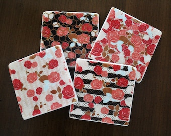Stone Coasters - Retro Floral // Tumbled Marble Tile Coasters // Set of 4 // Floral Decor // Floral Coasters // Gifts for Her