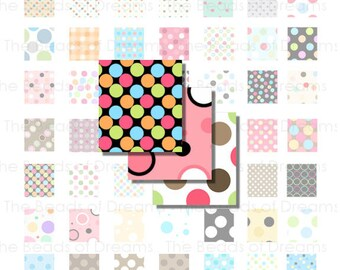 63 polka dots images for scrabble tiles - Digital Collage Sheet - scrabble tile for jewelry  - 0.75 x 0.83 inch - INSTANT DOWNLOAD (cs0059)